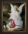 Guardian Angel on the Perilous Bridge(Ornate Dark Frame) - 4 Framed Options
