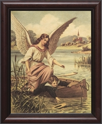 Guardian Angel with Boy in Boat - Framed Christian Art