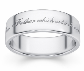 Hallowed Be Thy Name Bible Verse Wedding Band - Sterling Silver