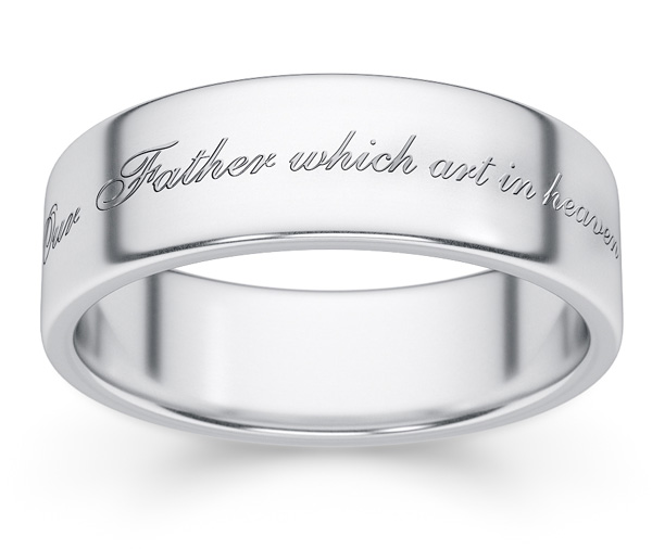 Hallowed Be Thy Name Verse Wedding Ring White Gold