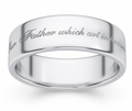 Hallowed Be Thy Name Bible Verse Wedding Ring - White Gold