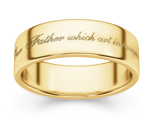 Hallowed Be Thy Name Bible Verse Wedding Ring Yellow Gold LordsArt