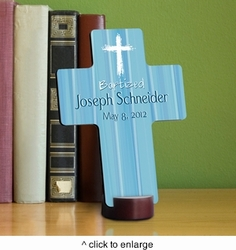 Hear My Prayer - Blue Personalized Baptismal Cross