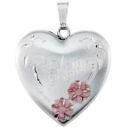 Heart Mom Locket with Flowers - Gift for Mother