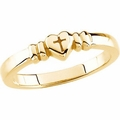 Heart with Cross Chastity Ring 14k Gold