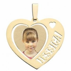 Heart with One Name Cut Out Personalized Gold Jewelry Gift for Family