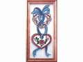 Hearts and Ribbons Stained Glass Art Panel