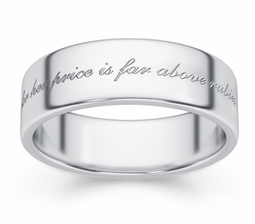 Her Price Is Far Above Rubies Bible Verse Wedding Band - Sterling Silver