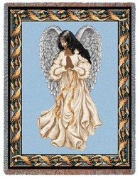 Hispanic Guardian Angel Inspirational Tapestry Throw