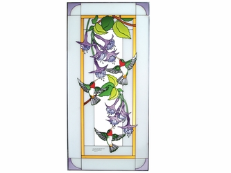 Hummingbirds Inspirational Large Stained Glass Art Panel