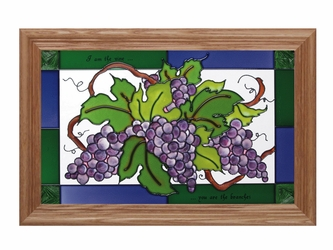 """I Am the Vine"" Inspirational Stained Glass Panel"