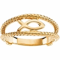 Ichthus (Fish) Chastity Ring 14k Gold