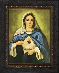 Immaculate Heart (Ornate Dark Frame) - Framed Christian Art
