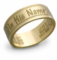In His Name Bible Verse Ring - 14k Yellow Gold
