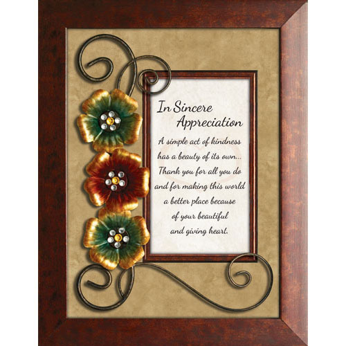 In Sincere Appreciation Framed Christian Tabletop Home