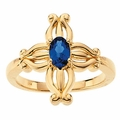 Insignia Sapphire Cross Ring in 14K Gold