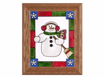 Jovial Snowman Christmas Stained Glass Art