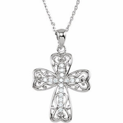 Life's Lessons Cross Necklace with CZ's
