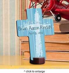 Light Of God - Blue Personalized Baptismal Cross