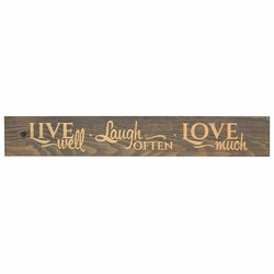 Live Well, Laugh Often, Love Much Plank Sign - Christian Home & Wall Decor