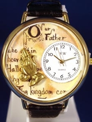 Lord's Prayer Religious Gold Watch