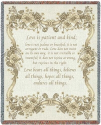Love Is 1 Corinthians 13 Tapestry Throw