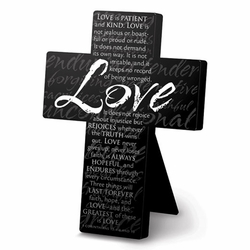 Love Large Metal Message Cross