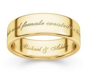 Male And Female Created He Them Bible Verse Wedding Ring - 14k Yellow Gold
