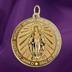Mary Miraculous Medal Available in 14K Yellow Gold, White Gold, & Sterling Silver