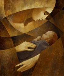 Mother and Child (Yellow) by J.Kirk Richards - 4 Unframed Options