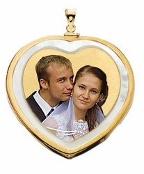 Mother Of Pearl Heart with Bezel Frame Photo Jewelry