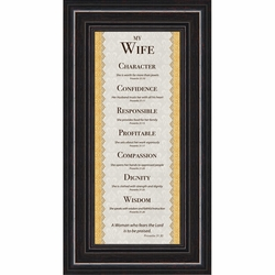 My Wife Proverbs 31 Noble Character Framed Gift - 4 Frames Available