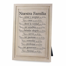 Nuestra Familia (Our Family) Plaque - Christian Home Decor