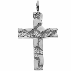 Nugget Cross Pendant 14K White Gold