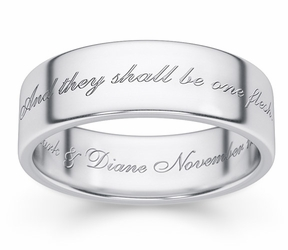 One Flesh Genesis 2:24 Bible Verse Wedding Band Ring in White Gold
