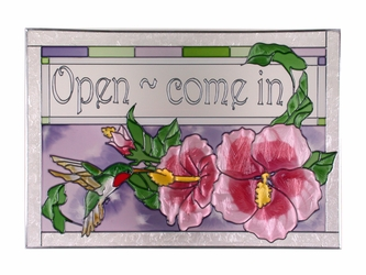 """Open Come In"" Hummingbird, Stained Glass Art Panel"