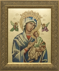 Our Lady of Perpetual Help (Metallic Gold) - Framed Christian Art