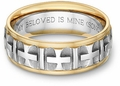Ancient Cross Bible Verse Wedding Band Ring - Two Tone 14k Gold