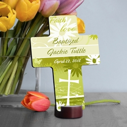 Personalized Baptismal Faith & Flowers Cross