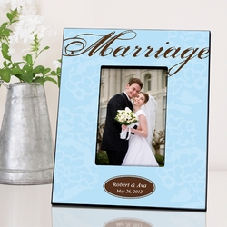 Personalized Blue with Brown Marriage Picture Frame