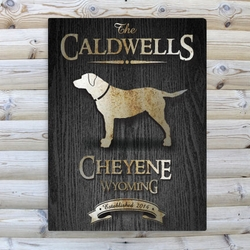 Personalized Labrador Black Wood-Grain Cabin Canvas