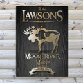 Personalized Moose Black Wood-Grain Cabin Canvas