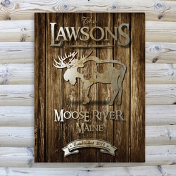 Personalized Moose Rustic Wood Cabin Canvas