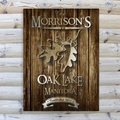 Personalized Oak Leaf Rustic Wood Cabin Canvas