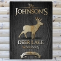 Personalized Stag Black Wood-Grain Cabin Canvas