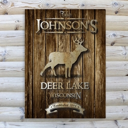 Personalized Stag Rustic Wood Cabin Canvas