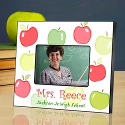 Personalized Teacher Picture Frame - Happy Apples