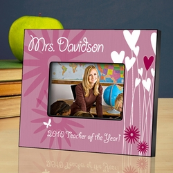 Personalized Teacher Picture Frame - Hearts and Flowers