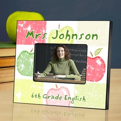 Personalized Teacher Picture Frame - Patchwork Apples