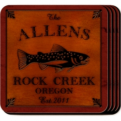 Personalized Trout Coaster Set